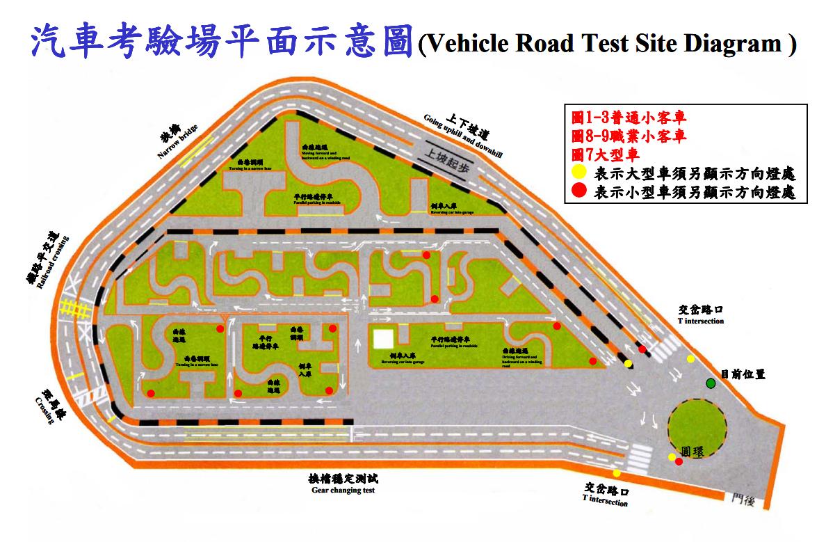 圖片來源:士林監理站汽車考驗場平面示意圖